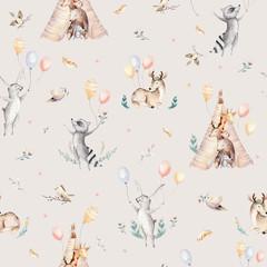 Cute family baby raccon, deer and bunny. animal nursery giraffe, and bear isolated illustration....