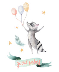 Fotorolgordijn Bestsellers Kids Cute jumping raccoon animal illustration for kids Watercolor boho forest cartoon Birthday patry Balloons invitation Perfect for nursery posters, patterns