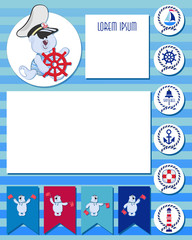 CAPTAIN. Funny polar bear-toddler. Baby set of planner elements with marine theme.  Time of adventure and sea voyages. Daily and weekly planner. The layout can also be used for children's photos.