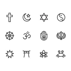 Religion symbols icon set