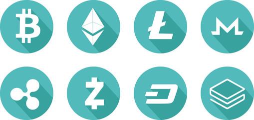 Icône de différentes crypto monnaies