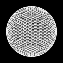 Vector abstract sphere made of hexagons isolated on black background.
