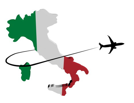 Italy map flag with plane silhouette and swoosh illustration