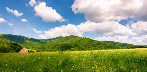 haystack on the grassy field in mountains. beautiful countryside summer scenery in Carpathian mountains under the blue sky with white fluffy clouds