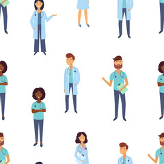 Doctors and nurses. Medical staff. Medical team seamless pattern. Flat design people character. .