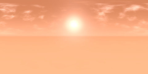 10k HDRI map: sun in cloudy red sky over an desert landscape on an alien planet (high resolution  environment map for equirectangular projection, spherical panorama, 3d illustration)