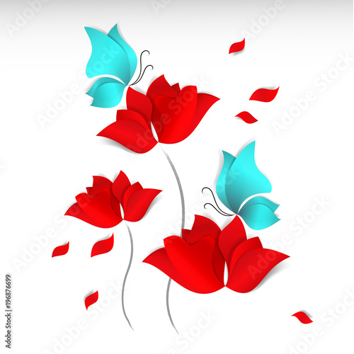 Paper Cut Style Red Flowers Blue Butterflies And Flying Petals On