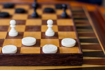 Fresh Game of Checkers Game Using Chess Pieces.