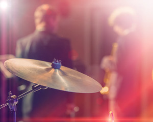 Drums and cymbals, concert performance concert, selective focus on equipment.