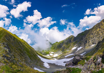 beautiful cloud formation over the gorgeous ridge. lovely summer scenery in mountains. Location Fagarasan mountains, Romania