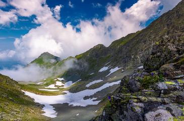 mountain ridge among the clouds
