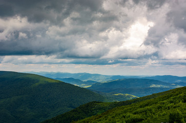 mountainous landscape before the storm. lovely scenery under the menacing heavy grey sky