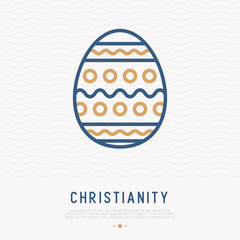Easter egg with ornament thin line icon. Modern vector illustration of christianity symbol.