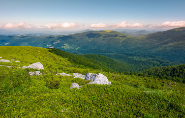 grassy slopes and boulders of mountain ridge in afternoon. beautiful summer scenery of the Runa mountain of Ukrainian Carpathians