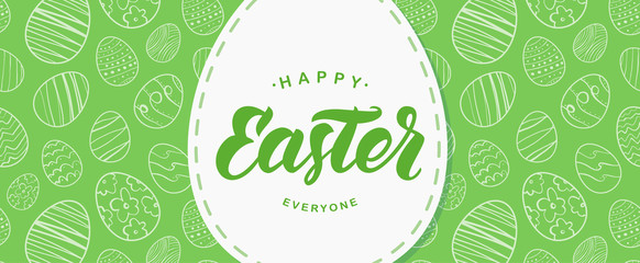 Greeting banner with handwritten lettering of Happy Easter on hand drawn eggs background