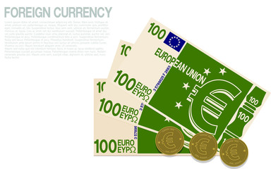 Composition of Euro currency on transparent background