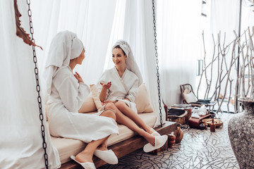 Young women in spa salon