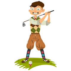 Golfer man character in retro clothes. Golf swing. Cute cartoon vector Illustration isolated on white background.