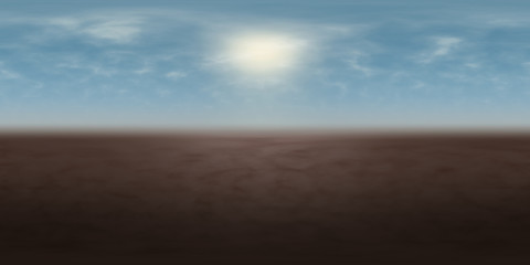 high resolution environmental 360 degree HDRI map, spherical panorama, 3d illustration background, 8k, for equirectangular projection (misty blue sky with bright sun over brown ground)