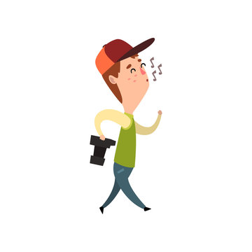 Male photographer with photo camera whistling, paparazzi, blogger or journalist vector Illustration on a white background