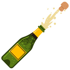 Champagne bottle cork explosion. Vector cartoon flat icon of sparkling wine isolated on white background.