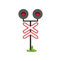 Icon of railway warning sign with lights. Red prohibitive signal. Flat vector design for infographic poster, mobile app or educational book