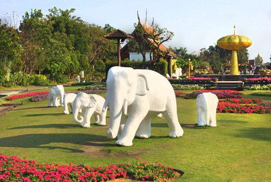 White elephant statues in Royal Park Rajapruek, Chiang Mai, Thailand