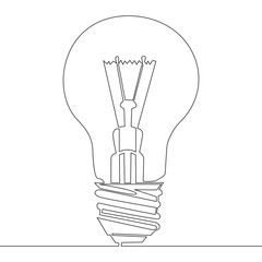 Continuous one line drawing light bulb symbol