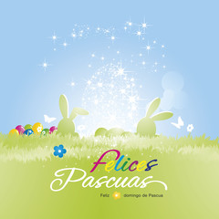 Happy Easter (Felices Pascuas - Spanish) background colorful vector