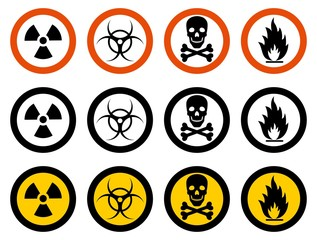 Industry concept. Set of different signs: chemical, radioactive, dangerous, toxic, poisonous, hazardous substances. Vector illustration.
