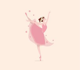 Cute cartoon dancing ballerina with flowers. Vector illustration. Ballet shoes