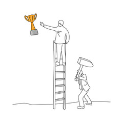 businessman using hammer to hit the ladder of his friend vector illustration sketch hand drawn with black lines isolated on white background