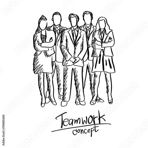 doodle five business people team in formal suit standing vector