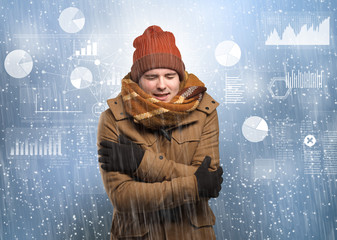 Young hipster shivering with graphs, reports and chart concept