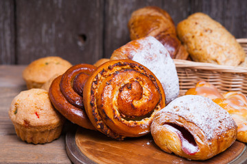 Fresh baked homemade buns and rolls