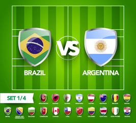 vector illustration football scoreboard team A vs team B broadcast graphic soccer score graphic template on green pattern field for game