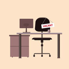 Office chair with vacancy sign isolated . Empty seat, workplace for employee. Business hiring and recruitment concept. Furniture, vacant desk, armchair icon. Vector cartoon illustration
