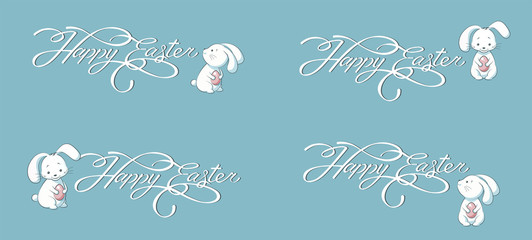 Set kit collection vector banner lettering Happy Easter bunny blue background
