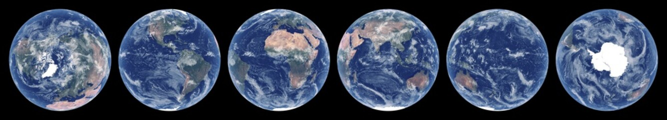 Earth from space. Set of satellite images of planet Earth. Realistic photo of Earth frome above. Space views of hemispheres. Texture of Earth. Elements of this image furnished by NASA.