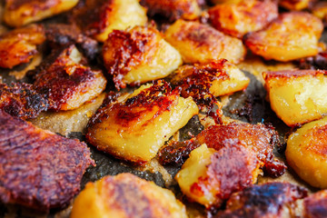 Roasted russet potatoes golden and crispy