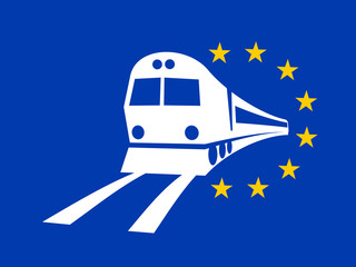 European Union and travelling and transportation by train on the railway and railroad. Vector illustration of simple pictogram of locomotive and EU flag.