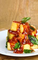 Fried Tofu with Spicy Basil Sauce or Stir Fried Tofu with Thai Basil