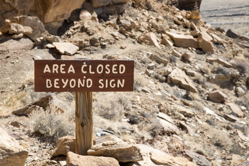 Area closed beyond sign at Chaco Canyon in New Mexico