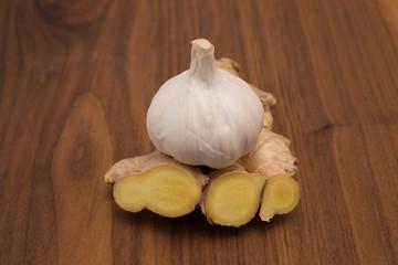 wooden board old and ginger basil garlic