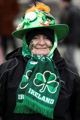 A spectator wears Irish themed apparel during the St Patrick's Day parade in London