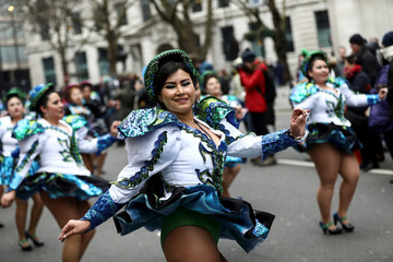 Performers dance during the St Patrick's Day parade in London