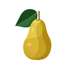 Yellow pear on white background. Vector illustration