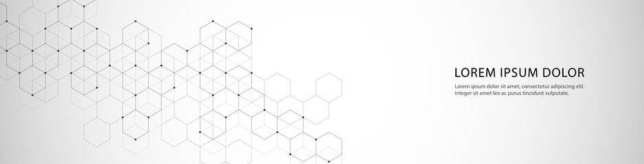 Vector banner design with hexagons abstract background. Wall mural