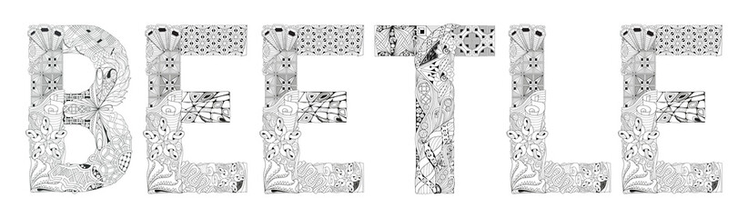 Word beetle for coloring. Vector decorative zentangle object