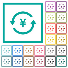 Yen pay back flat color icons with quadrant frames